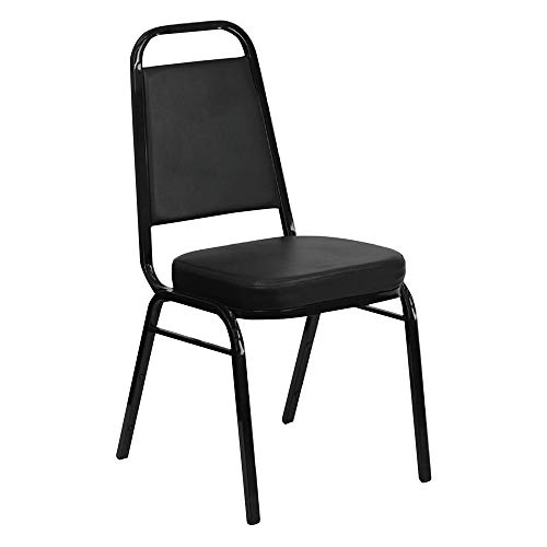 Iceberg 66351 Banquet Chairs With Trapezoid Back, Black/black, 4/carton