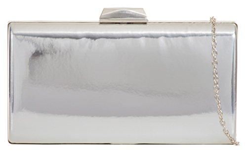 Plain Case Bag Silver Hard Clutch Handbags Girly 5tpwPP