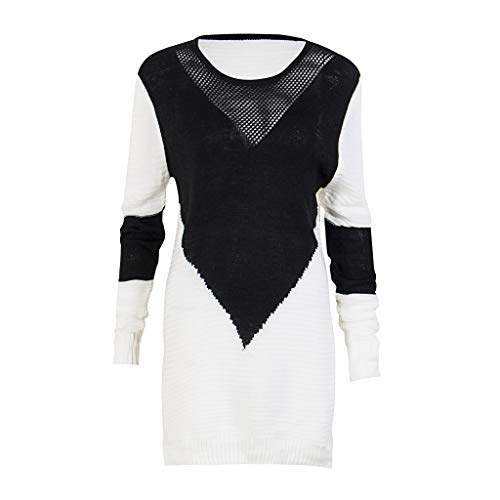 LoXTong Womens Knitted Sweater Round Neck Slit Hem Long Sleeve Ribbed Knitted Asymmetric Dress Contrast Color Block Hollow Out Neckline Sweater