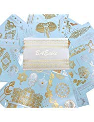 Henna Temporary Tattoos (10 Large 8''x6'' Sheets) | Hundreds of Dazzling Henna-Inspired Combinations in Gold, Silver and White | Boho-Chic Henna Tattoo Kit for Women and Girls by BAEable