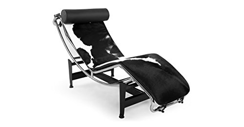 Kardiel Gravity Chaise Lounge, Black & White Cowhide