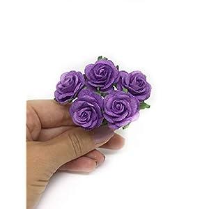 "1"" Purple Paper Flowers Paper Rose Artificial Flowers Fake Flowers Artificial Roses Paper Craft Flowers Paper Rose Flower Mulberry Paper Flowers, 20 Pieces 10"