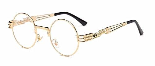 Round Classic Luxury Steampunk Sunglasses (Gold Metallic Frame, - Gold Luxury Sunglasses
