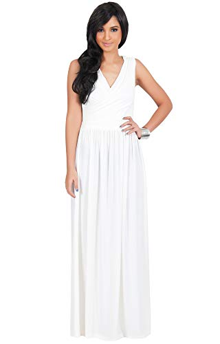 KOH KOH Womens Long Sleeveless Sexy Summer Semi Formal Bridesmaid Wedding Guest Evening Sundress Sundresses Flowy Gown Gowns Maxi Dress Dresses, Ivory White L 12-14
