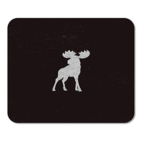 Pictogram Tee - Suike Mousepad Computer Notepad Office Moose Letterpress Effect Retro Pictogram Infographics Tee Design Badge Deer Home School Game Player Computer Worker 9.5x7.9 Inch