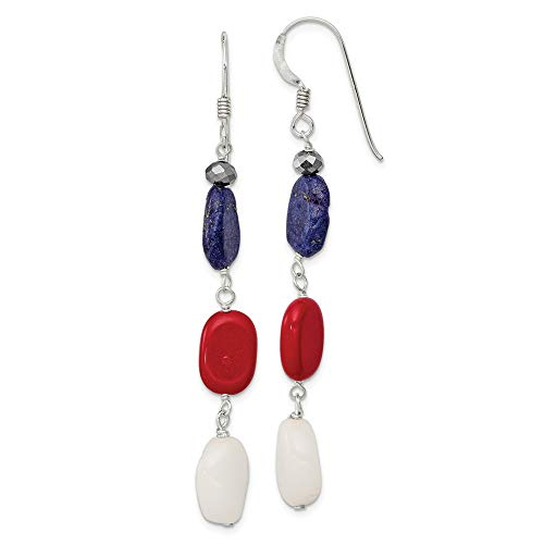 (925 Sterling Silver Red Coral/crystal/white Jade/lapis Drop Dangle Chandelier Earrings Fine Jewelry Gifts For Women For Her)