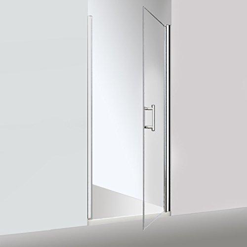 Elegant Semi-Frameless Hinged Pivot Swing Shower Door 36 X 72 inch, Clear Glass, Chrome Finish (Hinged Door Frameless Semi)