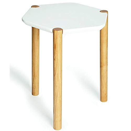 Umbra Lexy Side Table, Wood Side Table, Geometric Tabletop, White/Natural Ashwood Finish (Furniture Wesley Company)
