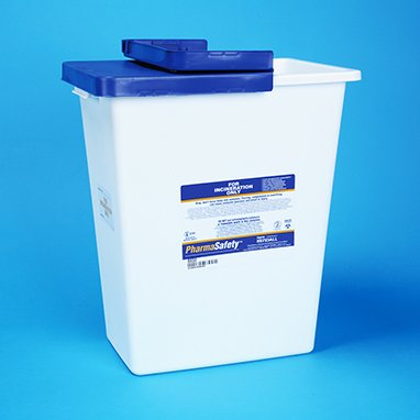 Kendall Pharmasafety Waste Sharps Disposal Container 8 Gallon W/Lid Absorbent Pad - Model 8850 by Covidien - Kendall Mall Stores