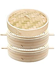 Bamboo Steamer, 2-Layer Handmade Food Steamer with Lid, Kitchen Cookware, Thickened Handle, Rice Dim Sum Vegetables Meat Dumplings,35cm
