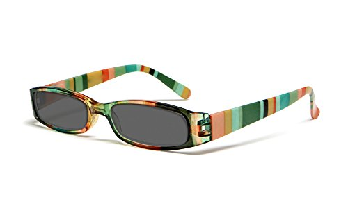 Calabria R576S Womens Colorful Striped Reading Sunglasses Incredibly Lightweight and Comfortable Soft Slip In Case Included (Green - Tinted Glasses Green Prescription