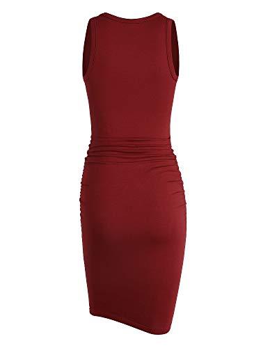 Missufe Tank Burgundy Dress Ruched Midi Sleeveless V Women's Neck Sundress Bodycon Casual Sheath wAwZqB4