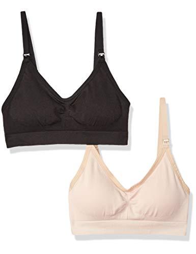 - Arabella Women's Nursing Seamless Bralette 2 Pack, Jet Black/Shifting Sand, X-Large
