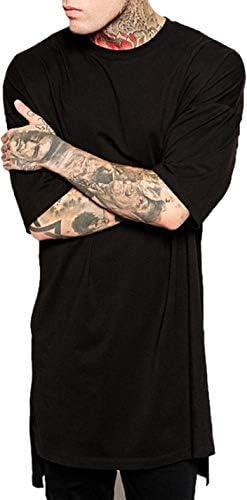 [パラッツィー」 メンズ tシャツ カジュアル ロング丈 ビッグシルエット 半袖 コットン ステップドヘム 3色展開 (ブラック・グレー・ホワイト)