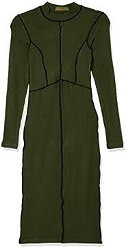Vestido midi com manga longa e costura em cor aparente, Colcci, Feminino
