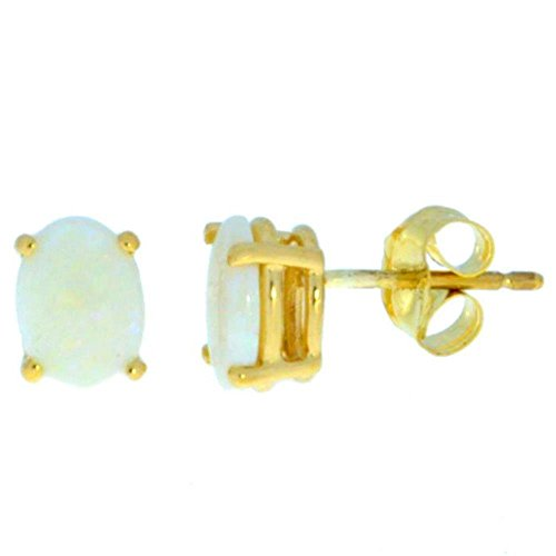 14Kt Yellow Gold Genuine Opal Oval Stud Earrings 14kt Genuine Birthstone Mothers Ring