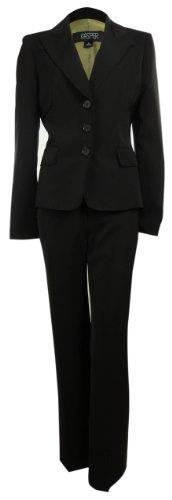 Women's Business Suit Pant & Jacket Set (8, Black)