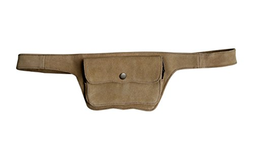 Unisex Leather Festival Belt | Suede, 2 pocket | hip bag, travel, cosplay, utility | fits iPhone (Cream Beige) (Suede Utility Bag)