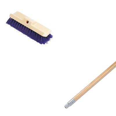 (KITBWK136RCP6337BLU - Value Kit - Boardwalk Metal Tip Threaded Hardwood Broom Handle (BWK136) and Bi-Level Deck Scrub Brush, Polypropylene Fibers, 10 Plastic Block, Tapered Hole)