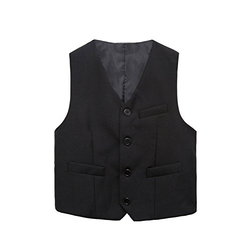 Joddie Haha Big Boys Vest Children Coats Boy Waistcoats Leisure Clothes Kids Wedding Prom Fashion Formal Vests Gilet Costume Black 11T for $<!--$30.70-->