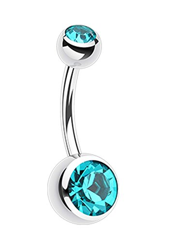 Double Glass-Gem Ball 316L Surgical Steel Belly Button Ring - 14 GA (1.6mm) - Ball Size: 5/32x1/4