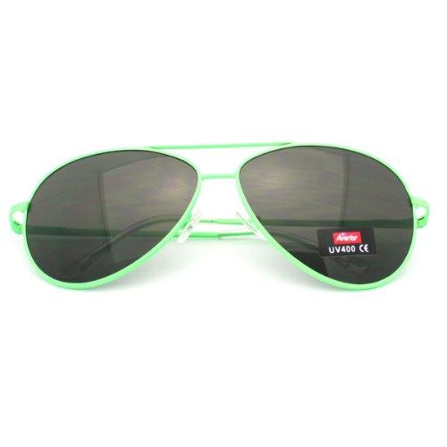 Bright Neon Colorful Aviator Sunglasses Summer Fashion Spring Hinge - Neon Aviator Sunglasses