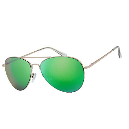 The Fresh Classic Large Metal Frame Mirror Lens Aviator Sunglasses with Gift Box (GOLD (Spring Temple), GREEN)