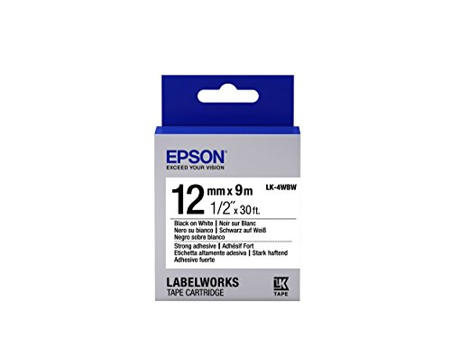 "Epson LabelWorks Strong Adhesive LK (Replaces LC) Tape Cartridge ~1/2"" Black on White (LK-4WBW) - For use with LabelWorks LW-300, LW-400, LW-600P and LW-700 label printers"