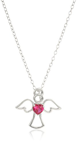 Angel Ruby Necklace - Sterling Silver Created Ruby Angel Pendant Necklace