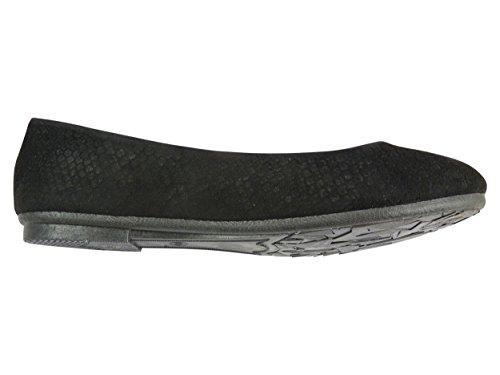 Bailarinas de terciopelo para mujer, casual, diseño con forma de zapatos Negro - negro