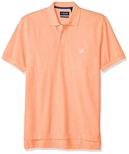 Chaps Men's Classic Fit Cotton Pique Polo Shirt, Key West Orange Multi, -