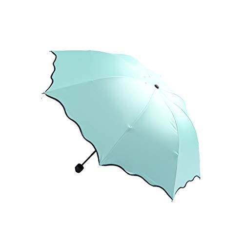 KOROWA Women Lady Solid Color Magic Flower Parasol Multifunction Three Folding Anti-UV Sun Rain Umbrella ()