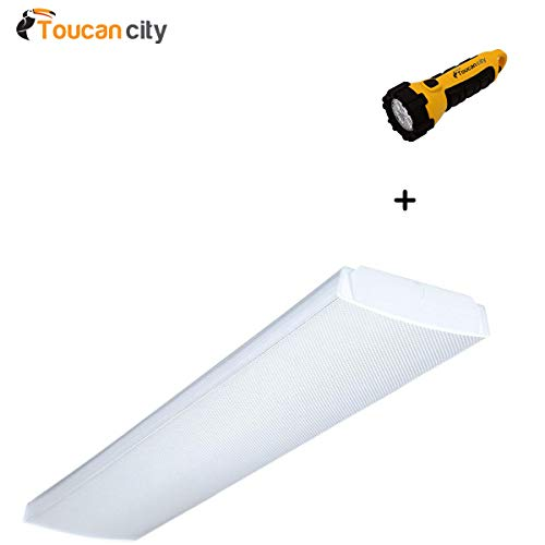 Toucan City LED Flashlight and Lithonia Lighting 4 ft. 4-Light Fluorescent Wraparound Lens Ceiling Fixture LB 4 32 120 1/4 GESB (120 Gesb Two Light)
