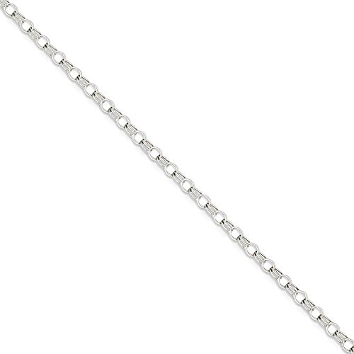 ICE CARATS 14k White Gold 3mm Solid Double Link Charm Bracelet 7 Inch Fine Jewelry Gift Set For Women Heart