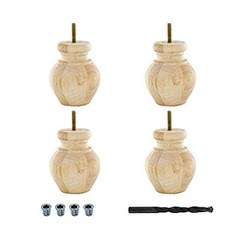 Architectural Products by Outwater BUN24-UN 4 in. x 3-1/8 in. Unfinished Solid Hardwood Round Bun Foot 4 Pack with 4 Free Insert Nuts and Drill Bit