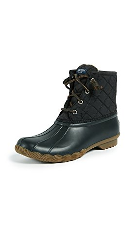 Sperry Womens Saltwater Boots, Black Quilted Nylon, 8
