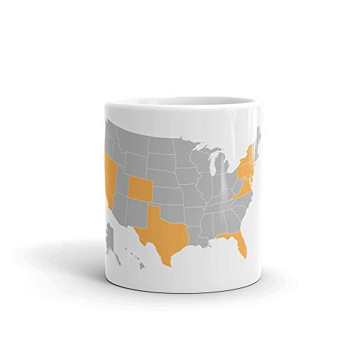 America Travel Gold Map Personalized Coffee Mug   Show off all the states you have travelled to or want to visit in the USA   Great gift idea for travelers   Also available in World Map DOCAZON