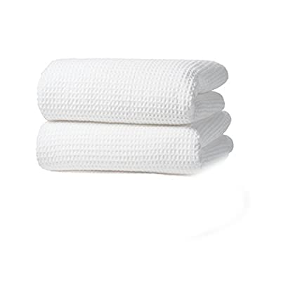 Gilden Tree Premium Waffle Weave Bath Towels 2 Pc Set 100% Natural Cotton Quick Dry Lint Free Soft Luxurious Fabric Solid Colors Oversized Thin Cloth Fade Resistant (Stone) - SUPER ABSORBENT: uniquely flat when new, they shrink to create honeycombs with more surface area to wick moisture away almost instantly. FAST DRYING: dries up to 40% faster than terry in the dryer so you save energy. Also dries quickly between uses, even in damp bathrooms. Breathable weave stays fresh and won't get stinky. LUXURY & DURABLE: tighter European style weave looks beautiful, sheds no lint, is snag free and only gets softer and nicer the longer you use them. - bathroom-linens, bathroom, bath-towels - 31KrPbMcMeL. SS400  -