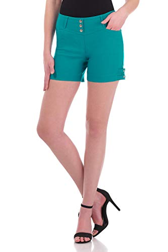 (Rekucci Women's Ease Into Comfort Stretchable Pull-On 5 inch Slimming Tab Short (14,Jade))