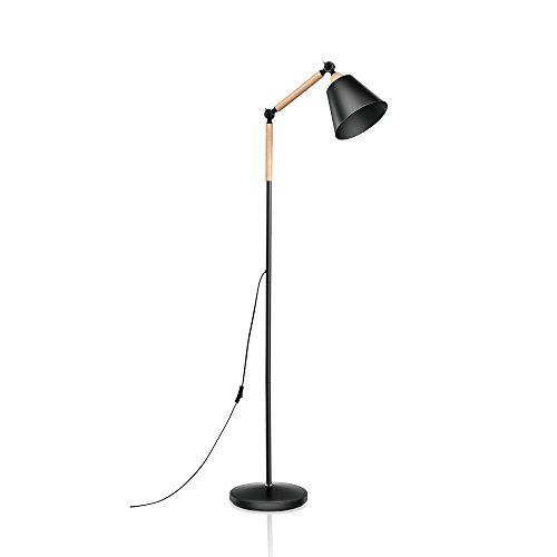 Adjustable Vintage Floor Lamp, Tall Standing Lamp with E26 Sized Screw Base(LED Bulb not Included), Metal+Wood Reading Lamp with Heavy Base for Living Room/Bedroom/Study/Office by ominilight