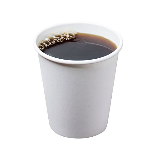 - [10 oz. Squat | 100 Pack] Coffee Cups White Disposable Paper Hot Drink Cup, BPA Free