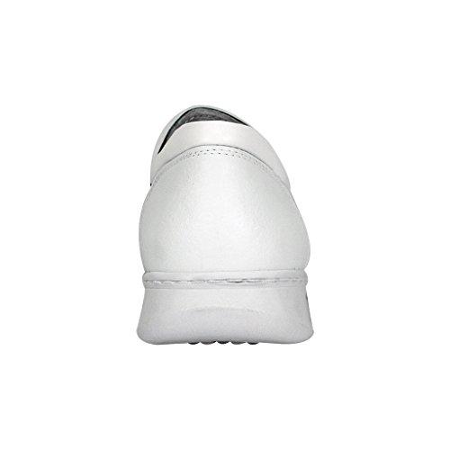 24 Uurs Comfort Fic Jason Men Extra Breed Professionele Leren Instap Schoen (grootte / Meetgids) Witte