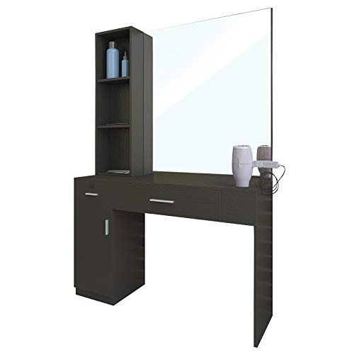 Artist Hand Wall Mount Salon Station Barber Stations Styling Station Barber Beauty Spa Salon Equipment Set with Mirror,Left Shelf (Black)