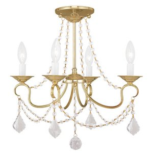 Brass Ceiling Lantern (Livex Lighting 6514-02 Pennington 4 Light Convertible Hanging Lantern/Ceiling Mount, Polished Brass)