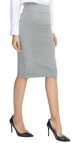 - Urban CoCo Women's Elastic Waist Stretch Bodycon Midi Pencil Skirt (L, Light Gray)