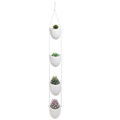 White Ceramic Rope Hanging Planter Set with 4 Flower Pots Plant Containers, Decorative Display Bowls by MyGift
