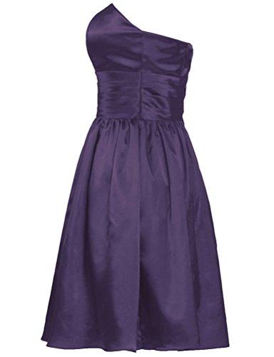 Sans Bretelles De Fourmis Femmes Courtes Robes De Satin Raisin Demoiselle D'honneur Robe De Soirée