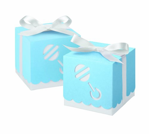 Wilton 415-0504 Blue Die Cut Rattle Square Box Favor Kit, 25 (White Favor Kits)