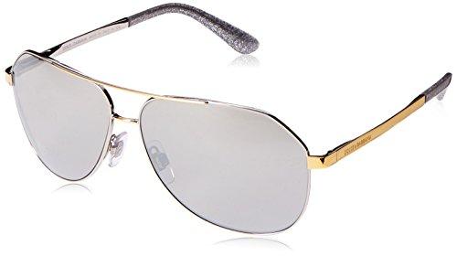 Dolce & Gabbana Women's Sicilian Taste Non-Polarized Iridium Aviator Sunglasses, Silver/Gold, 61 mm