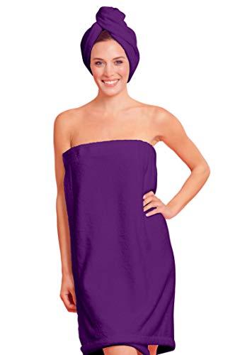 (Towel Wrap for Women - Women's Shower & Bath Wrap - Deluxe Cotton Fabric (One Size, Purple))